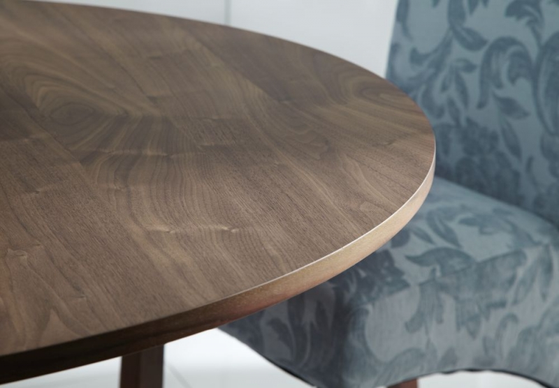 Serene Waltham Walnut Round Fixed Top Dining Table   120cm