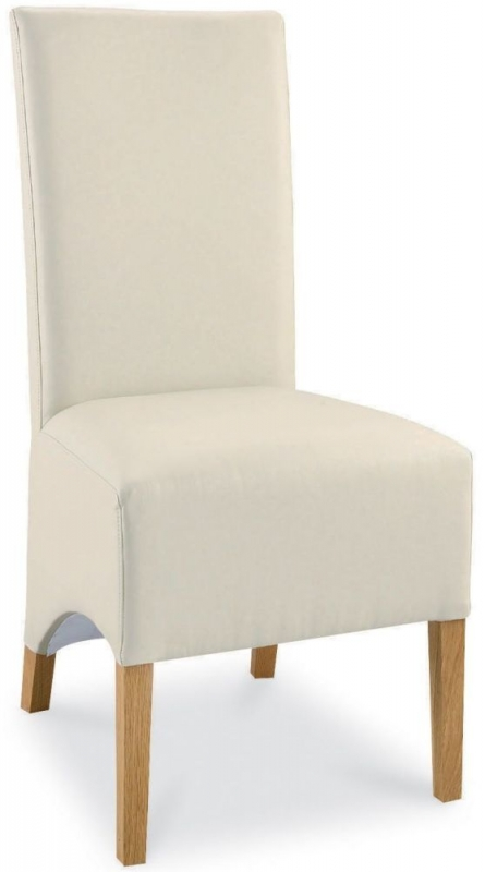 Bentley Designs Lyon Oak Ivory Faux Leather Wing Back Dining Chair (Pair) - EOL
