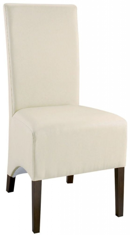 Bentley Designs Lyon Walnut Dining Chair - Ivory Faux Leather Wing Back (Pair)
