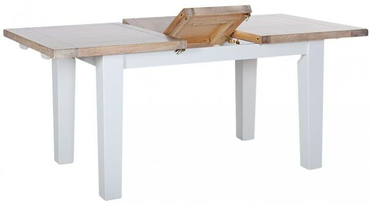 Chalked Oak and Light Grey Dining Table - Extending