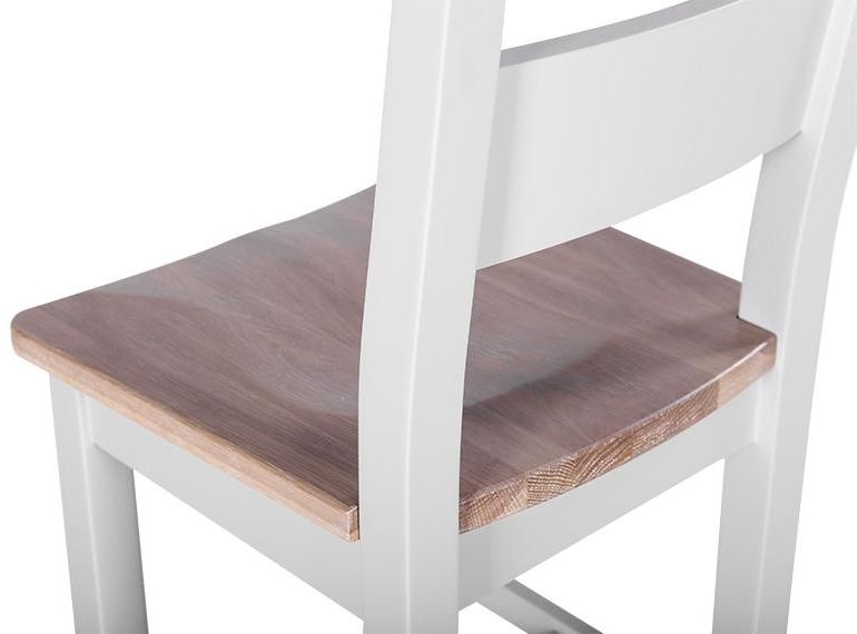Chalked Oak and Light Grey Horizontal Slatted Dining Chair with Timber Seat (Pair)