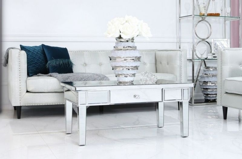 Paolo Silver Mirrored Storage Coffee Table