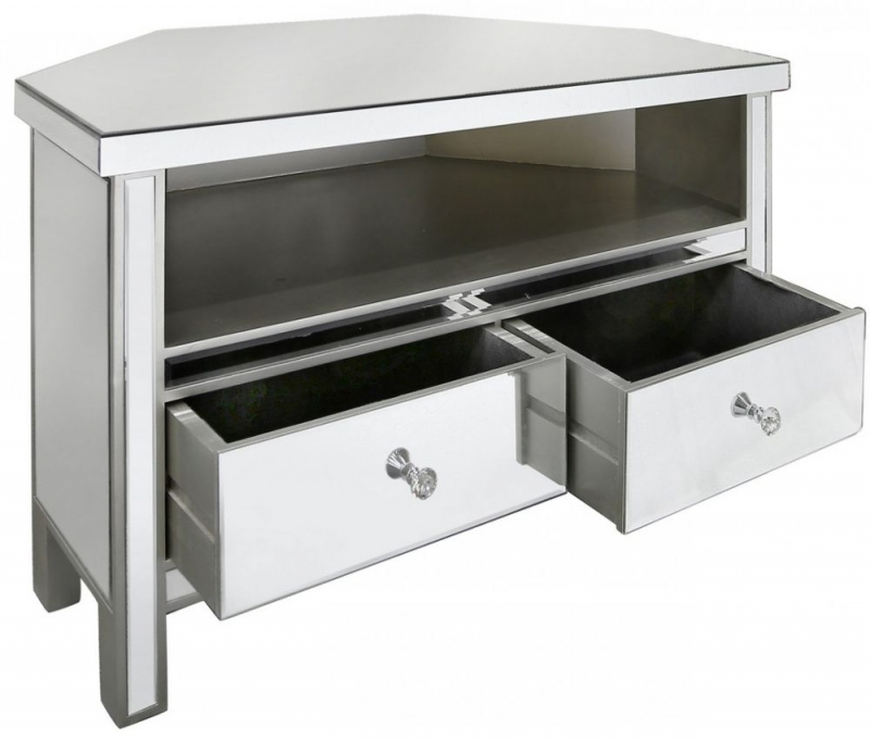 Buy paolo mirrored entertainment unit 2 drawer corner for Mirrored drawer unit