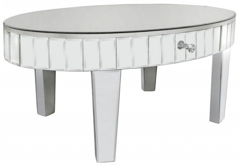 Paolo Mirrored Oval Coffee Table