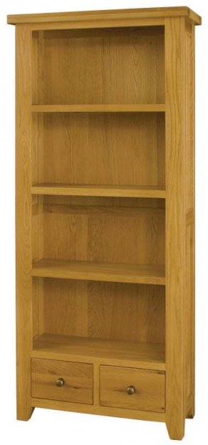 Michigan Oak Bookcase - Tall 3 Shelves 2 Drawers