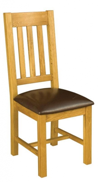Michigan Oak Upholstered Seat Dining Chair (Pair)