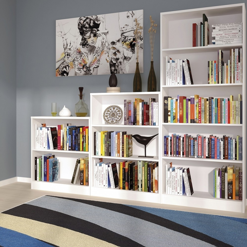 4 You Pearl White Tall Wide Bookcase
