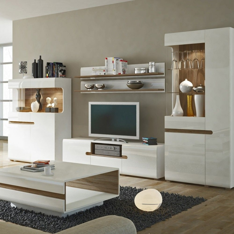 official photos 1fdbc 04805 Chelsea Wide TV Unit - Truffle Oak and High Gloss White