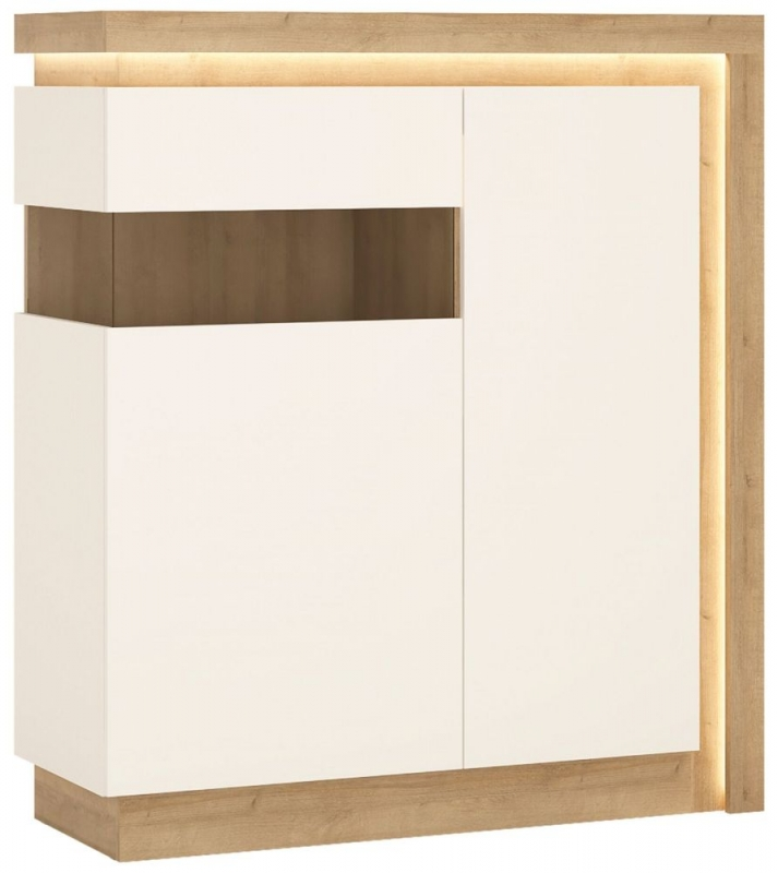 Lyon Left Hand Facing Designer Cabinet - Riviera Oak and High Gloss White