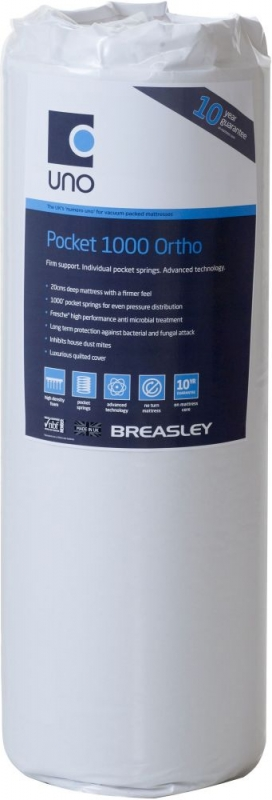 Breasley UNO 1000 Pocket Spring 20cm Ortho Deep Mattress with Fresche Technology - 3ft Single