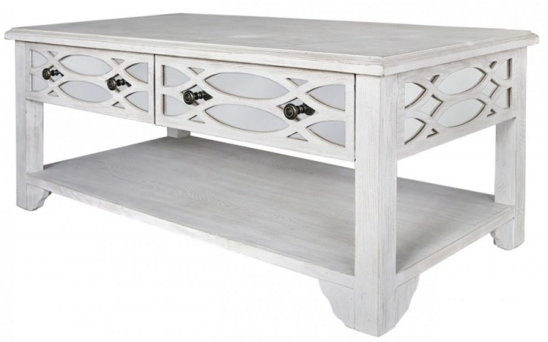 Valeria Washed Ash And Mirrored Coffee Table   2 Drawer