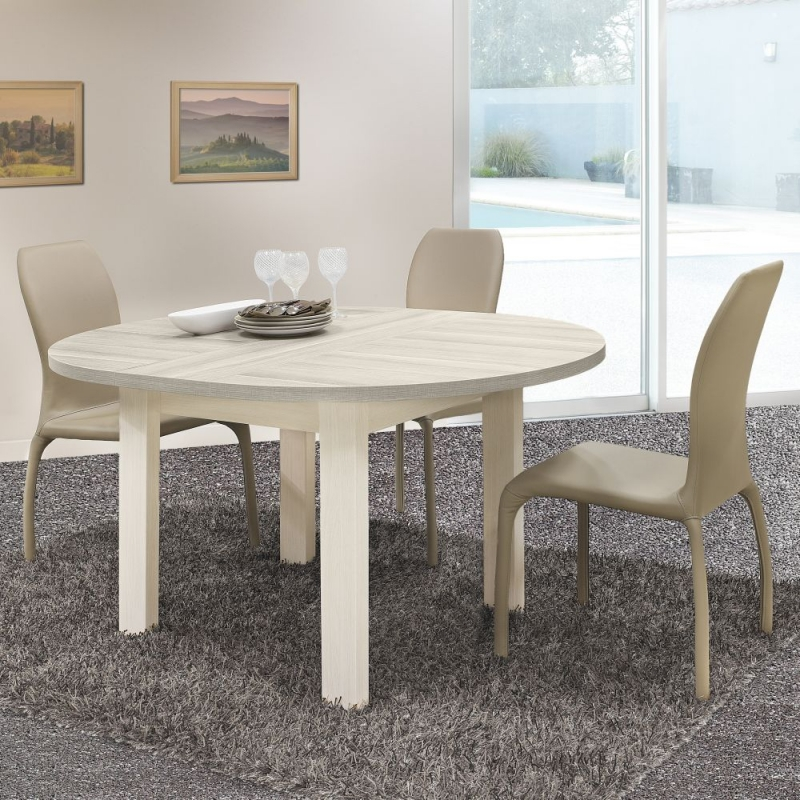 Prime Gami Toscane Bleached Ash Dining Table Round Extending Download Free Architecture Designs Rallybritishbridgeorg