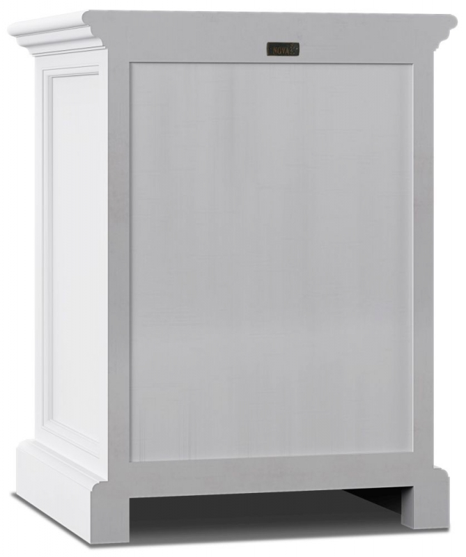 Nova Solo Halifax White Bedside Table with Dividers