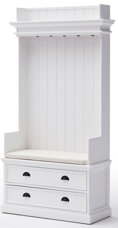 Nova Solo Halifax White Entryway 2 Drawer Coat Rack and Bench without Cushion
