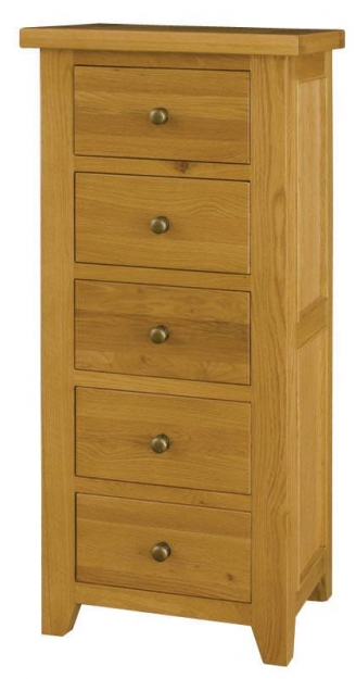 Vermont Oak Chest of Drawers - Wellington 5 Drawers