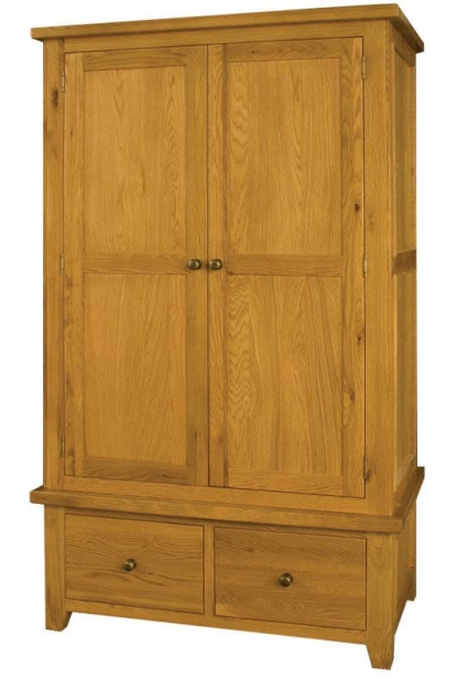 Vermont Oak Double Wardrobe - 2 Doors 2 Drawers