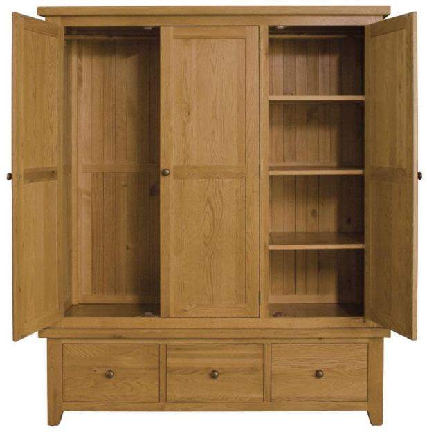 Vermont Oak Triple Wardrobe - 3 Doors 3 Drawers
