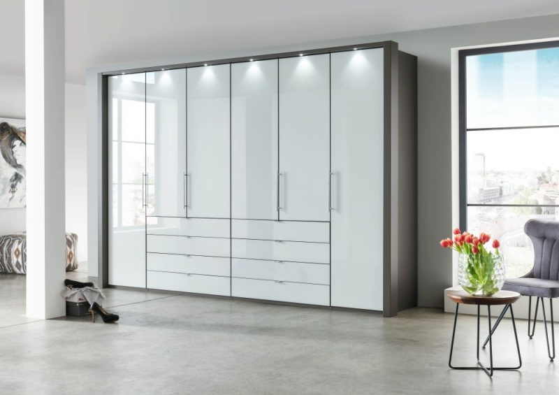 Wiemann Loft Bi-Fold-Panorama Door Functional Wardrobe with Glass Front