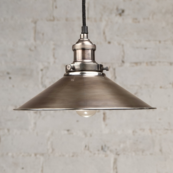 Culinary Concepts Antique Silver Pendant with Large Matal Triangular Shade
