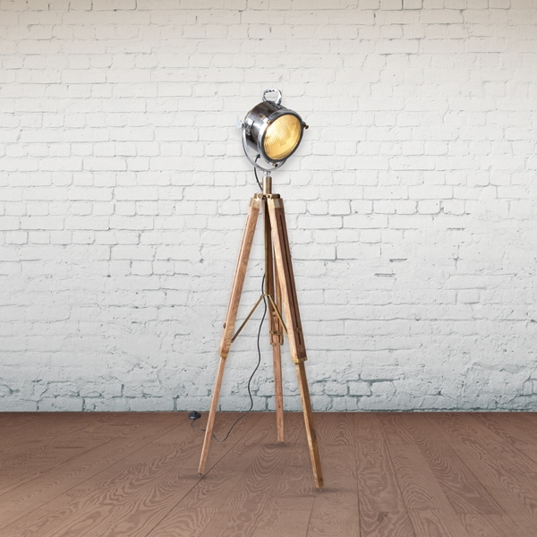culinary concepts spotlight floor lamp with wooden tripod - Spotlight Floor Lamp