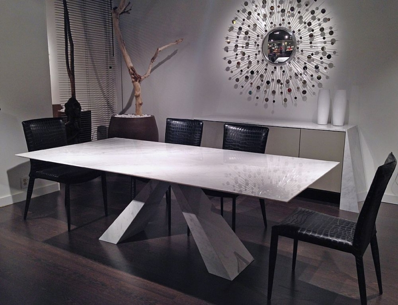 Stone International Butterfly Marble Rectangular Dining Table