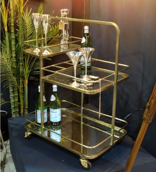 Culinary Concepts Lanesborough Antique Gold Three Tier Drinks Trolley