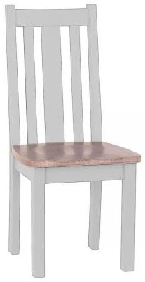 Chalked Oak and Light Grey Vertical Slatted Dining Chair with Timber Seat (Pair)