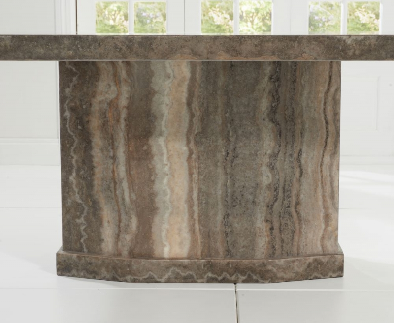 Mark Harris Como Brown Engineered Marble Large Dining Table and 4 Rivilino Chairs