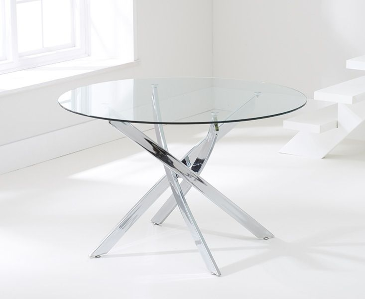 Mark Harris Daytona Glass Round Large Dining Table and 4 California Chairs - Chrome and Cream
