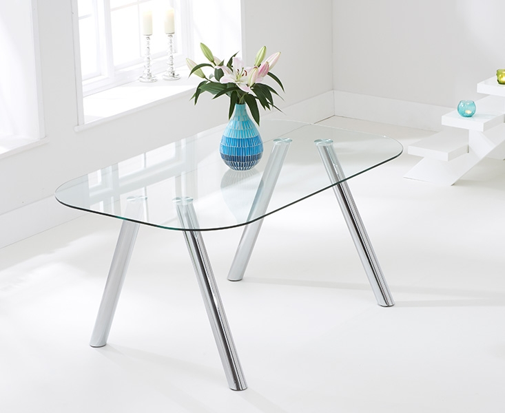 Mark Harris Pantheon Glass Dining Table and 4 California Chairs - Chrome and Brown