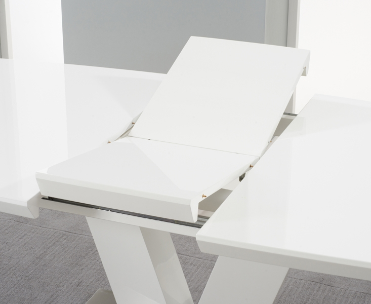 Mark Harris Malibu White High Gloss Butterfly Extending Dining Table and 6 Grey Chairs