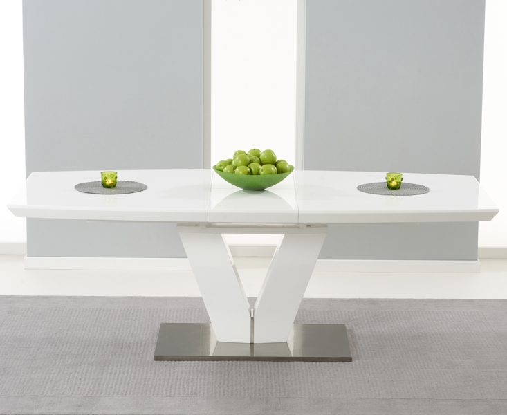 Mark Harris Malibu White High Gloss Butterfly Extending Dining Table and 6 Hereford White Chairs