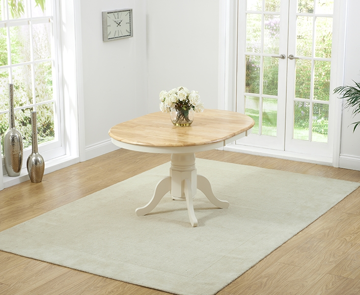Beautiful Mark Harris Elstree Oak And Cream Dining Table   100cm Round Extending