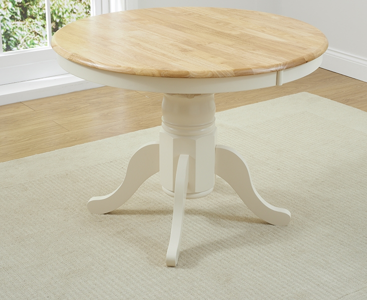 Buy mark harris elstree oak and cream 100cm round for Cream round dining table