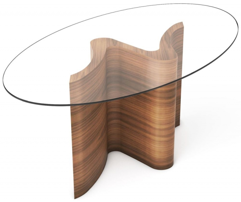 Tom Schneider Serpent Oval Glass Top Small Dining Table