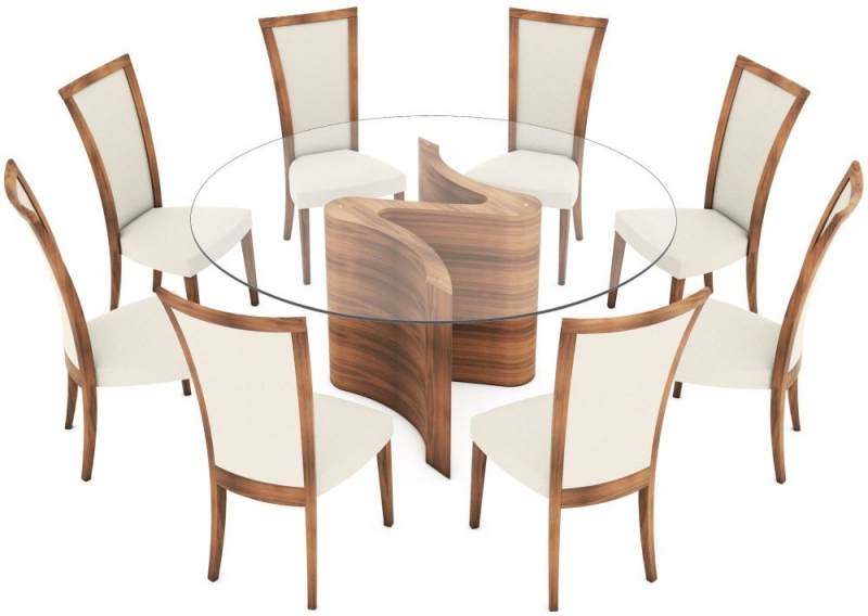 Tom Schneider Serpent Round Glass Top Large Dining Table