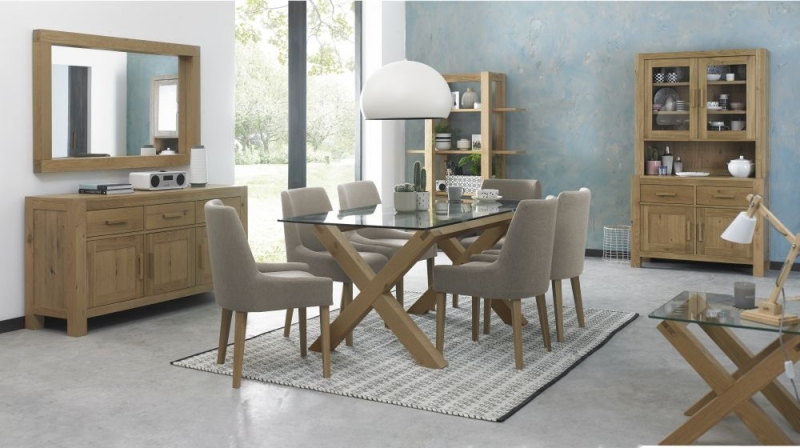 Buy Bentley Designs Turin Light Oak Dining Table Glass Top - Light oak dining table