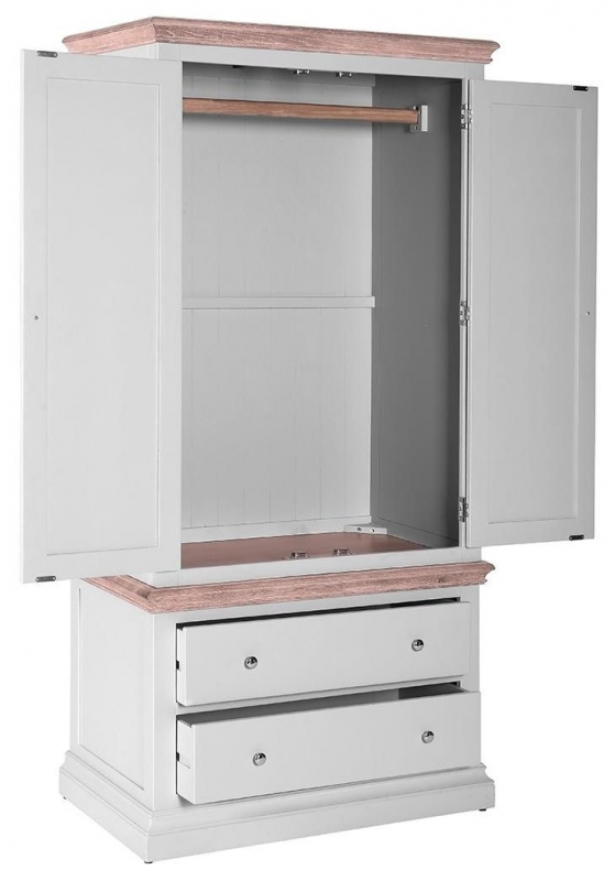 Rosa Painted 2 Drawer Gents Double Wardrobe