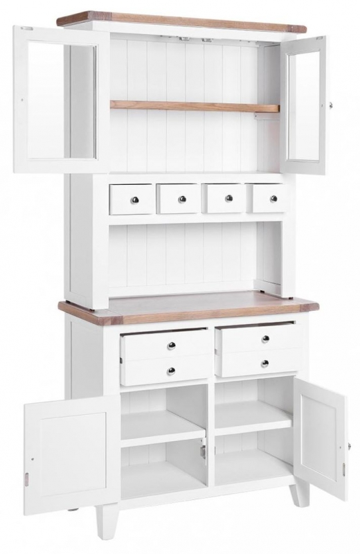 Chalked Oak and Pure White 2 Door 4 Drawer Hutch