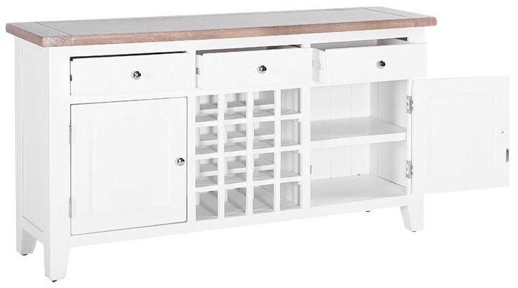 Chalked Oak and Pure White 2 Door 3 Drawer Wine Table