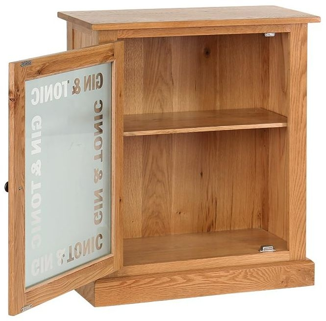Vancouver Petite Oak Gin and Tonic 1 Door Drinks Cabinet