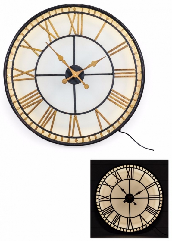 Large Black and Gold Back Lit Glass Westminster Wall Clock