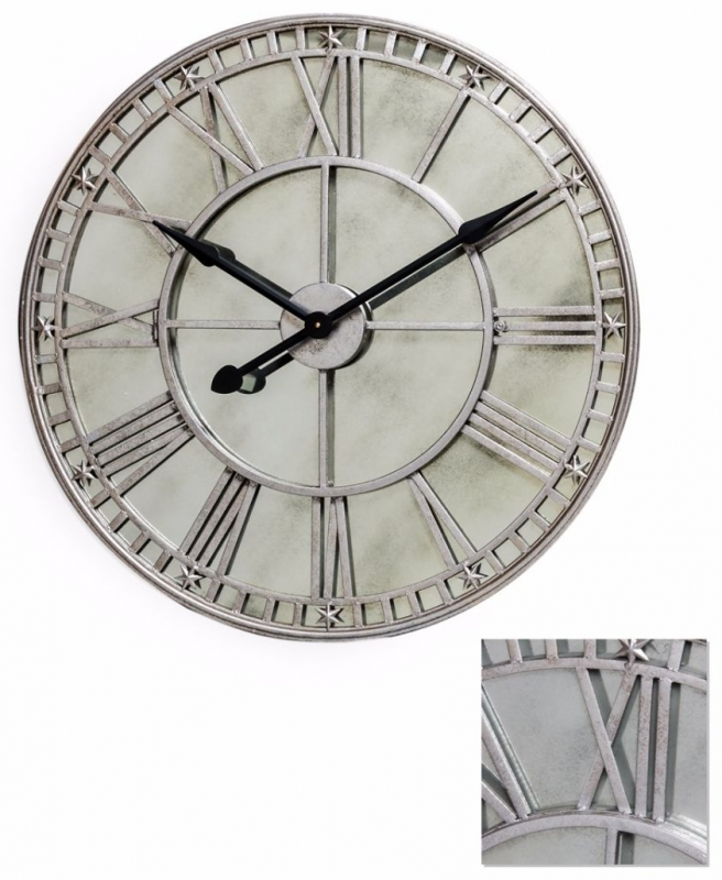 Large Silver Clock with Antiqued Mirror Face