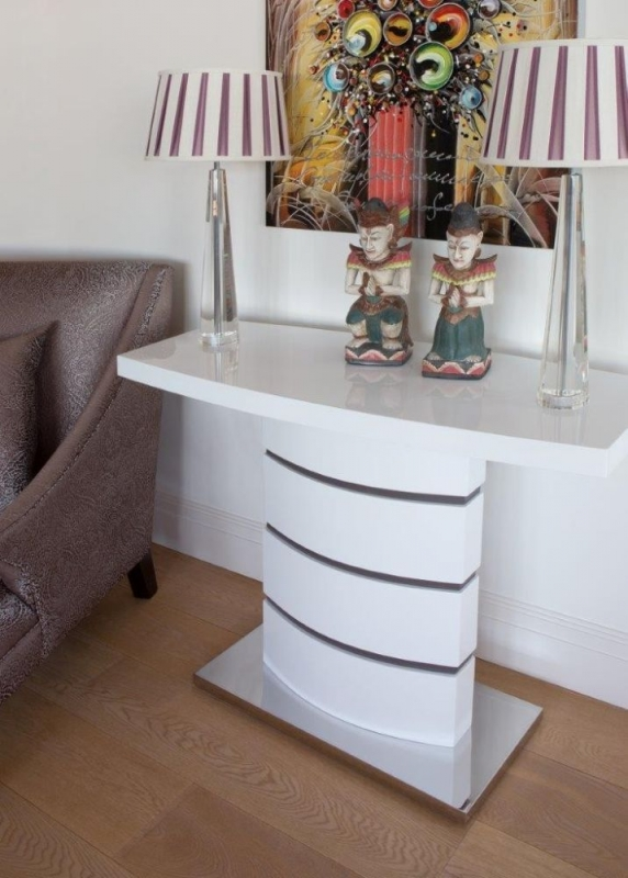 Buy Greenapple Rimini White Console Table with Glass Top Online CFS UK