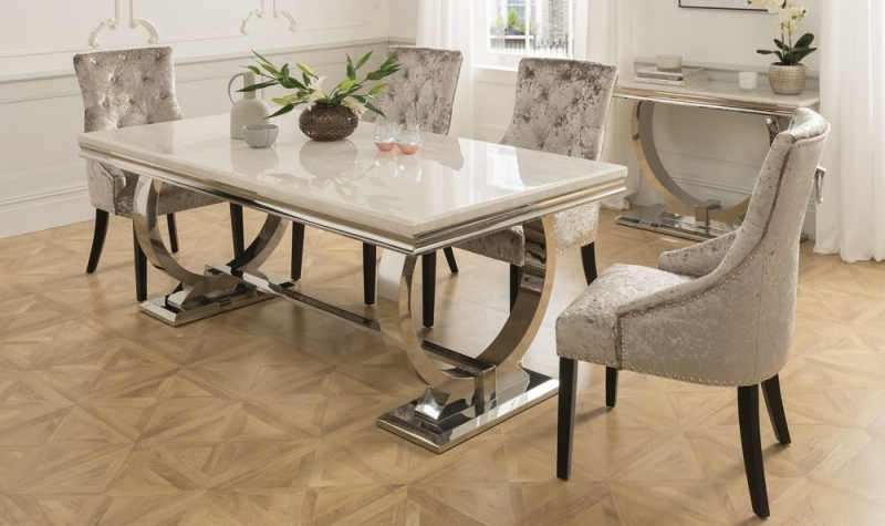 Vida Living Arianna Cream Marble Rectangular Dining Table With Stainless Steel Base