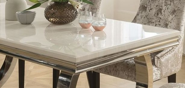 Vida Living Arianna Large Dining Table - Cream Marble and Chrome