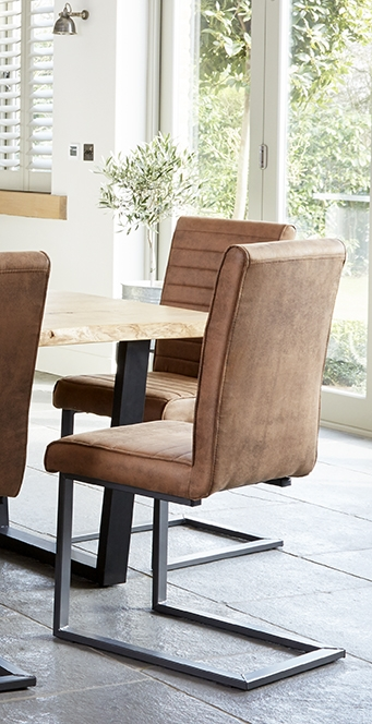 Corndell Oak Mill Faux Leather Dining Chair (Pair)
