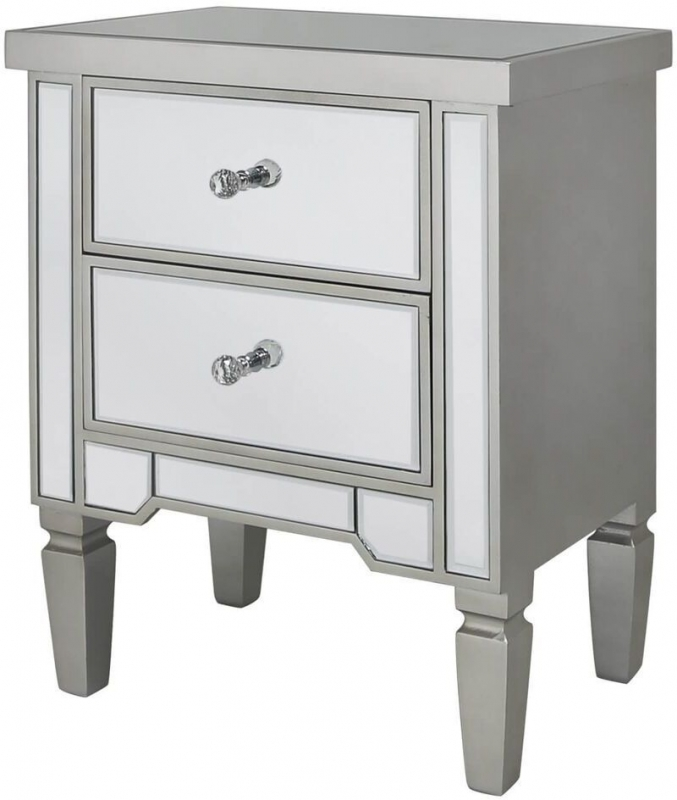 Mergo Mirrored Champagne Trim Bedside Cabinet