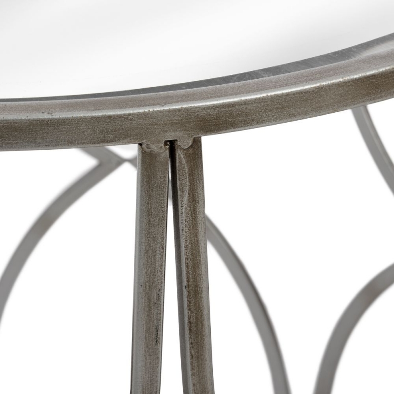 Hill Interiors Lattice Detail Silver Side Table (Set of 2)