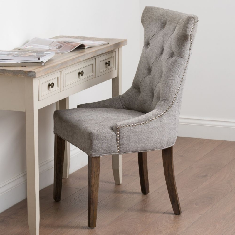 Hill Interiors Silver High Wing Dining Chair with Ring Pull (Pair)